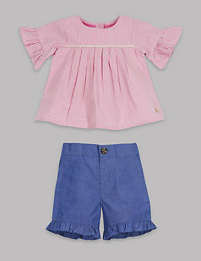 2 Piece Striped Frill Sleeve Top & Shorts Outfit, PINK MIX, catlanding