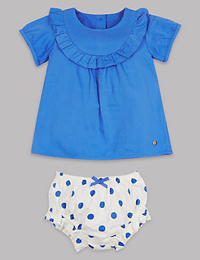 2 Piece Woven Top & Spotted Knickers Outfit, BLUE MIX, catlanding