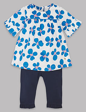 2 Piece Floral Print Top & Legging Outfit, BLUE MIX, catlanding