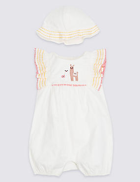 2 Piece Embellished Llama Romper with Hat, WHITE MIX, catlanding