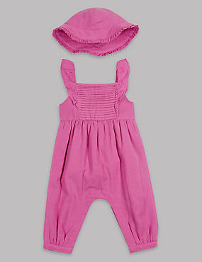 2 Piece Frill Sleeve Romper & Hat Outfit, PINK, catlanding