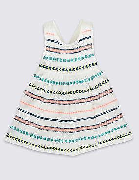 Pure Cotton Embroidered Woven Dress, WHITE MIX, catlanding