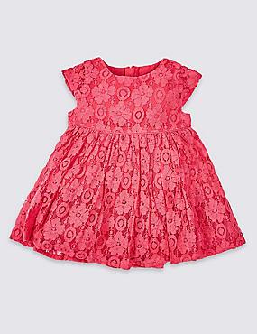 Cotton Rich Lace Dress, CARNATION, catlanding