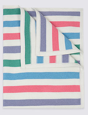 Pure Cotton Knitted Blanket, MULTI, catlanding