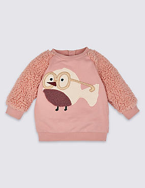 Pure Cotton Robin Sweatshirt, PINK MIX, catlanding
