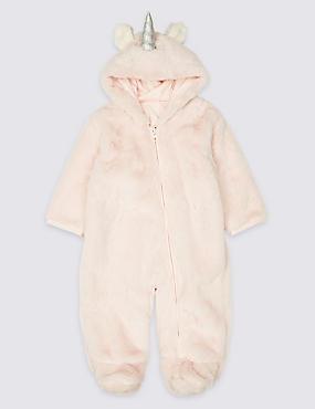 Pure Cotton Unicorn Pramsuit, PINK, catlanding