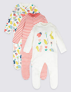 3 Pack Pure Cotton Bunny Sleepsuits, MULTI, catlanding