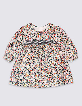 Pure Cotton All Over Floral Print Dress, PINK MIX, catlanding