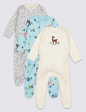 3 Pack Pure Cotton Sleepsuits, AQUA, catlanding