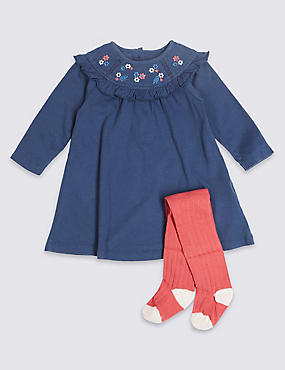 2 Piece Embroidered Dress with Tights