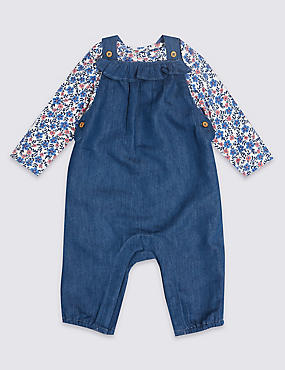 2 Piece Bodysuit & Denim Dungarees Outfit