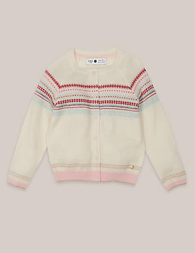 Girls Fairisle Cardigan with Cashmere (3 Months - 5 Years)