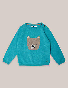 Boys Cashmere Blend Bear Knit Jumper (3 Months - 5 Years)