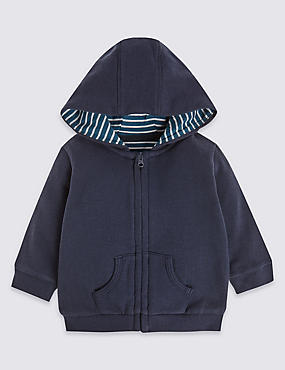 Pure Cotton Zipped Through Hooded Top