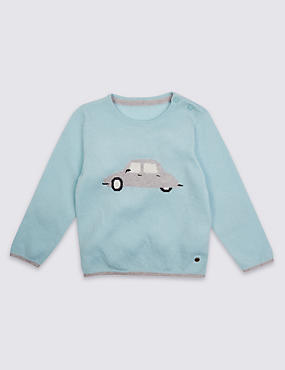 Boys Car Jumper with Cashmere (3 Months - 5 Years)