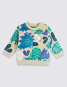 Pure Cotton Dinosaur Print Baby Jumper