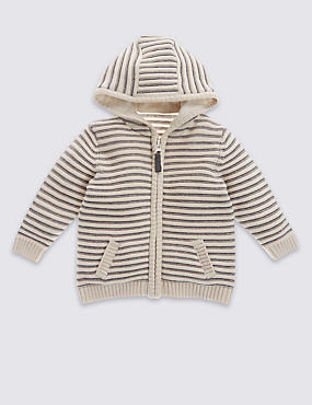 Pure Cotton Hooded Striped Cardigan