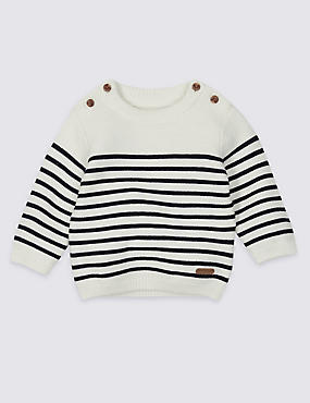 Pure Cotton Stripe Knit Jumper
