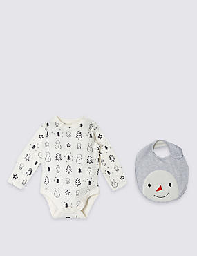 2 Piece Snowman Print Bodysuit and Bib