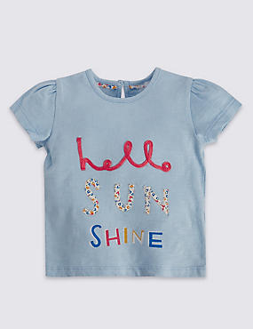Pure Cotton Hello Sun Shine Slogan & Appliqué T-Shirt