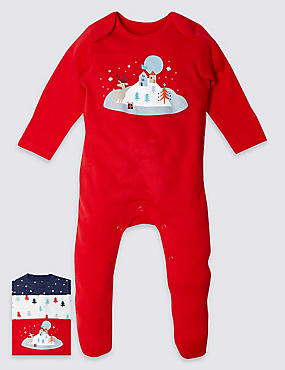 3 Pack Pure Cotton Christmas Print Sleepsuits