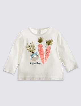 Pure Cotton Carrot Print T-Shirt (0-24 Months)