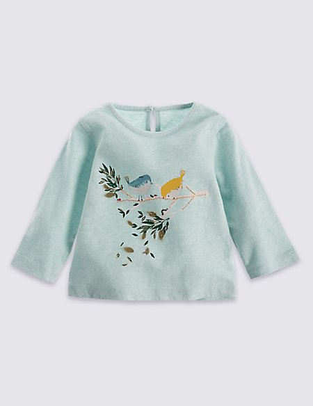 Pure Cotton Long Sleeve Bird Embroidery Top