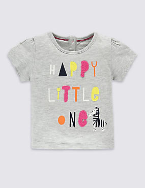 Cotton Rich Appliqué Slogan Top