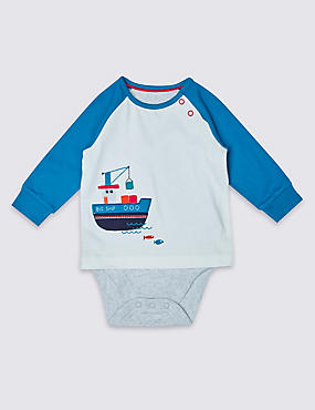 Pure Cotton Boat Print Bodysuit