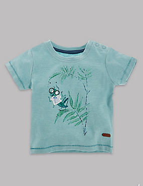 Short Sleeve Grasshopper Print Top