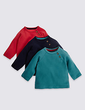 3 Pack Pure Cotton Long Sleeve Tops