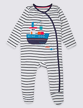 2 Pack Pure Cotton Assorted Sleepsuits