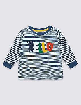 Pure Cotton Hello Slogan T-Shirt