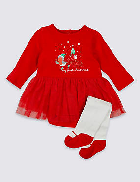 Baby Christmas Bodysuit with Tights Outfit