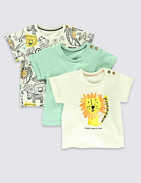 3 Pack Pure Cotton Assorted T-Shirts