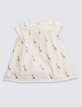 Pure Cotton Giraffe Embroidered Top