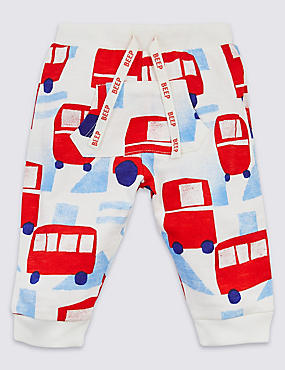 Pure Cotton All Over Car Print Joggers, WHITE MIX, catlanding