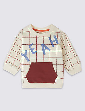 Cotton Slogan Sweatshirt with Stretch, IVORY MIX, catlanding