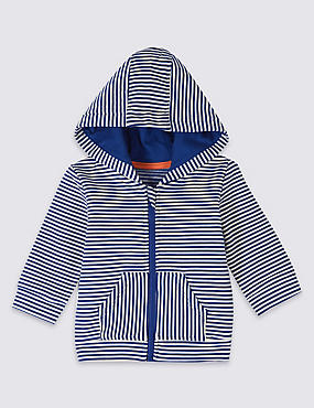 Cotton Striped Hooded Top with Stretch