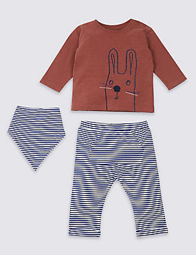 3 Piece Top & Joggers with Bib Outfit, ORANGE MIX, catlanding