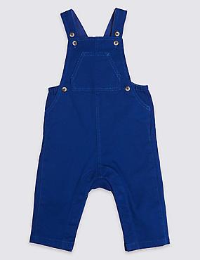 Cotton Rich Twill Dungarees, BLUE MIX, catlanding