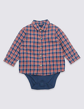Checked Pure Cotton Shirt Bodysuit