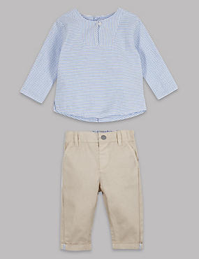 2 Piece Pure Cotton Shirt with Chinos