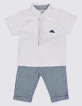 2 Piece Pure Cotton Polo Shirt & Trousers Outfit, BLUE MIX, catlanding