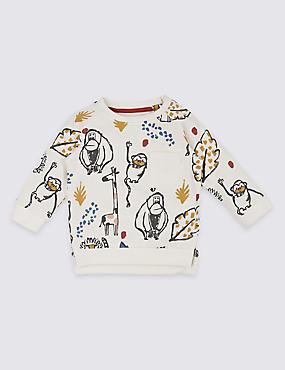 Pure Cotton All Over Animal Print Sweatshirt, MULTI, catlanding