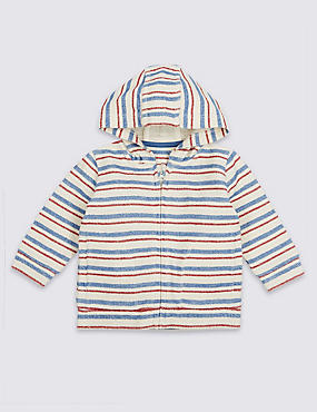 Pure Cotton Striped Hooded Top, Cream mix, catlanding