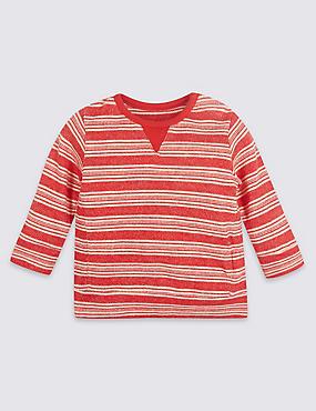 Pure Cotton Textured Sweatshirt, RED MIX, catlanding