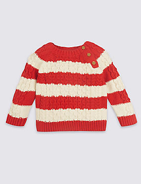 Pure Cotton Striped Cable Knit Jumper, RED MIX, catlanding