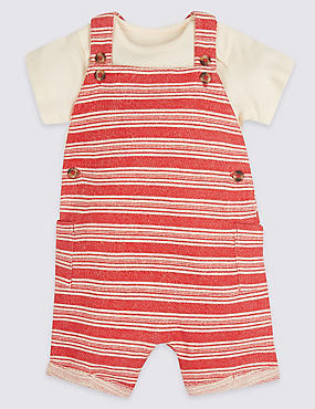 2 Piece Striped Bib Short & Bodysuit Outfit, TOMATO, catlanding
