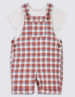 2 Piece Checked Dungarees & Bodysuit Outfit